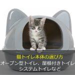 猫トイレ本体の選び方 オープン型トイレ、屋根付きトイレ、システムトイレなど